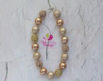 Girls Chunky Necklace, Girls Bubblegum Bead Necklace, Gold Chunky kids Necklace, Girls Gold Necklace, Children Necklace Birthday Necklace.