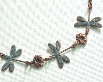 Dragonfly Necklace - Teal Copper Necklace, Small Dragonfly Necklace, Dragonfly Jewelry,  Nature Jewelry, Bridesmaid Jewelry