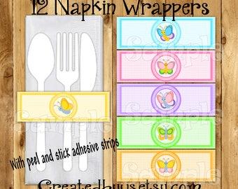 Butterfly napkin wraps Baby shower Decorations Spring Birthday napkin bands Paper napkin ring holder Birthday utensil wrapper 12 peel  stick
