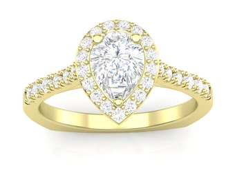 Yellow Gold Engagement Ring Pear Halo Ring 14K .27ct Round Diamonds Semi Mount for 3/4ct Pear Center Brand New Setting Only or Moissanite