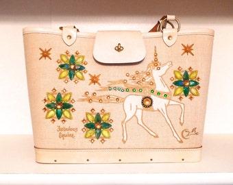 Enid Collins Unicorn Bag 1970's Vintage Fabulous Equine Canvas Handbag Rhinestone Horse Bucket Bag Purse