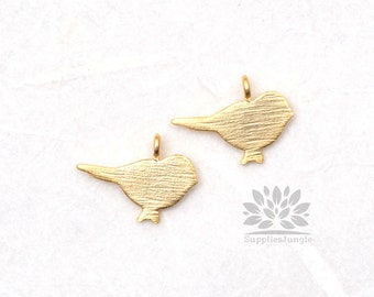 P495-MG// Matt Gold Plated Brushed Bird Pendant, 4 pcs
