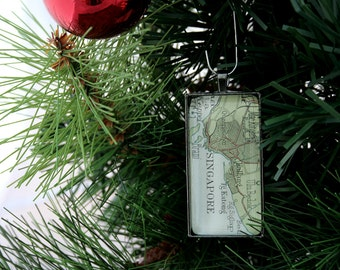 New Home Christmas Ornament Personalized Christmas Tree Decoration Custom Map Ornaments Black Rectangle Map Christmas Decorations