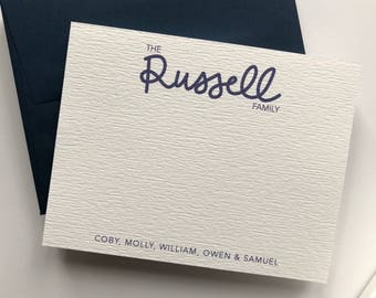 Handwritten Family Stationery, Personalized Stationery, Custom Note Cards, Personaized Family Note Cards, Handwritten Note Card