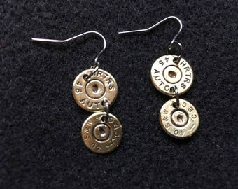 Double recycled Bullet casing earings, 45 auto and 40 SW .