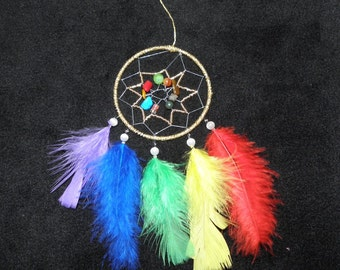 Small Chakra Dreamcatcher for the rearview mirror in the car, or truck (ø 2.6'' inch (7 cm)