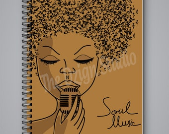 Soul Music Journal | Wire Bound | spiral journal | writing journal | custom journal | school supplies | gift for music lovers | diary