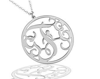 """Monogram Necklace 1.25"""" Sterling silver 925 - Personalized Initial monogram necklace. personalized gift, name necklace"""