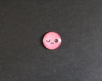 Pink Smiley Emoji Emoticon cabochon 25 mm