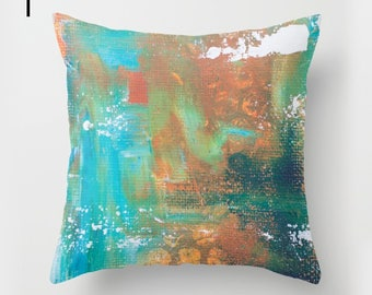 Abstract painted pillow set, teal artists cushion, creative gift for the art studio, vibrant and painterly interior design