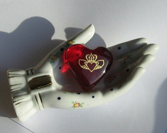Celtic Red Glass Friendship Heart with 17th Century Irish Scottish Outlander'ish Claddagh Symbol of Love Respect Loyalty