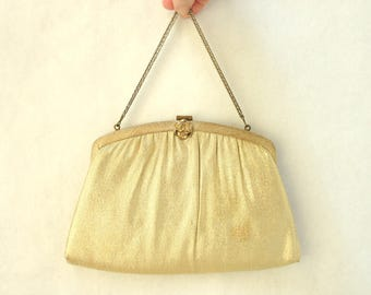 Vintage Evening Bag Clutch Gold Lame Harry Levine USA