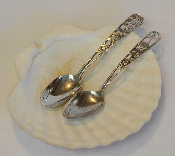 2 Vintage Sterling Silver Teaspoons.. Unique Openwork Asian Bamboo & Bird Design
