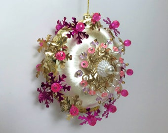 Vintage Beaded Sequin Ornament, Handmade Christmas Ornament, Pink White Gold Christmas Ornament, Hot Pink White Ornament, Satin Ornament