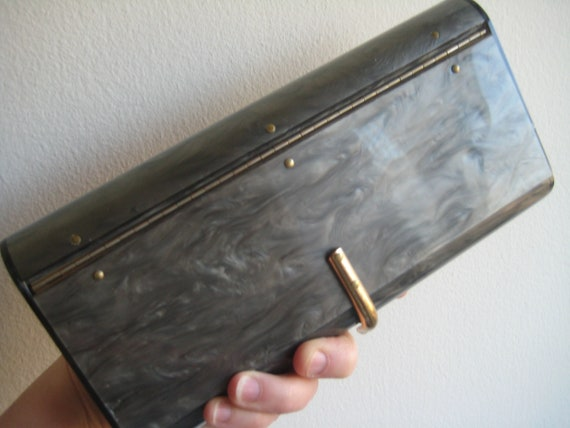 Gray Marble Look Lucite Clutch