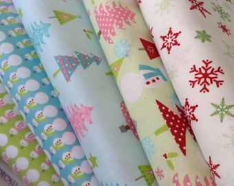 Riley Blake Designs Christmas Fabric - FAT Quarter sets of five (5)  Lime  Blue Red White- Christmas Trees - Snowman - Snowflakes Holiday