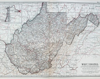 Antique Map : West Virginia, USA, US State Map. Encyclopedia Britannica, 1890s (77)