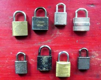 8 Vintage locks Vintage tiny locks Vintage little locks Group of locks Vintage Tool box locks Old luggage locks Assemblage Mixed media #31