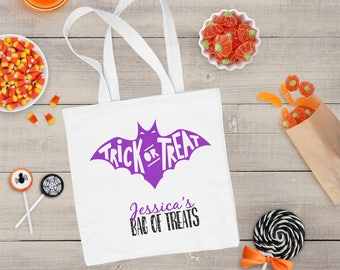 Personalized Treat Bags for Halloween - Personalized Trick Or Treat Bag - Personalized Halloween Bag -  Halloween Tote - Halloween Bag