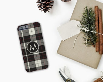 Plaid + Monogram iPhone / Samsung Case - Customize Color & Monogram - Tech Accessory, Modern, Christmas Gift, Lumberjack, Gift, Custom