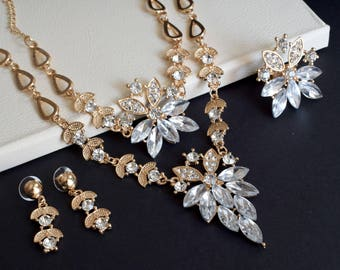 Prom Crystal Bridal Jewelry Set, Wedding Jewelry Set, Crystal Jewelry set, Wedding earring, Bridal necklace