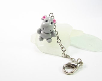 Hippo Planner Charm, Planner accessories, animal lover gifts for her women, bag zipper pull, polymer clay, friend gifts, travelers notebook