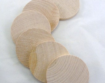 """6 Wooden 2 5/16"""" circles, large wood disc, wood disk 2 5/16"""" wood unfinished DIY"""