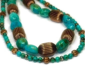 Real Turquoise Gemstone Necklace, Multistrand, Multi Strand, Layered, Genuine Turquoise, Chunky, Turquoise Jewelry, Statement, December