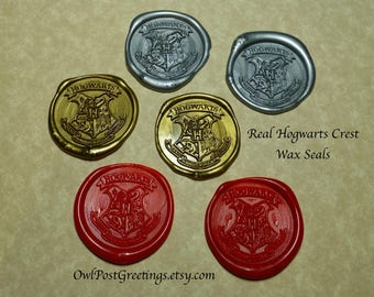 School of Witchcraft and Wizardry Real Crest Wax Seals pre-made for invitations and more