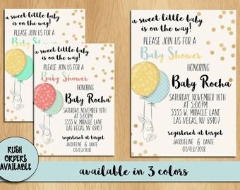 Gender Neutral Baby Shower Invitation / A Little Baby Is On The Way / Baby Shower Invitation / Custom Invitation / Gender Neutral / Bunny