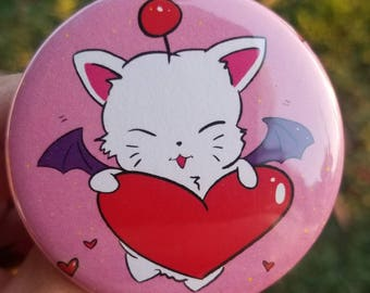 "Adorable Pink Moogle Heart 2.25"" Button"