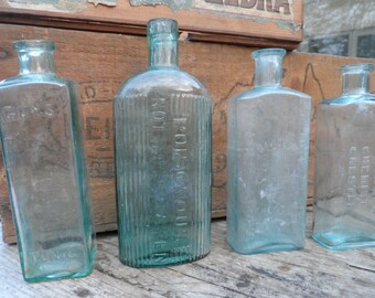 Vintage x4 Bottle selection Late Victorian early 20th Century making for Wedding table displays or unique flower vases Set #6