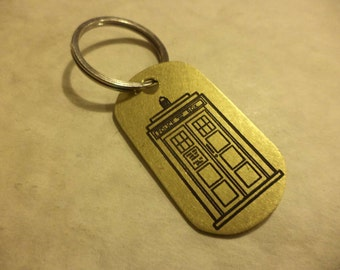 Dr. Who inspired etched brass dogtag