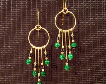 Gold-filled Malachite and Hematite Fandangle Earrings