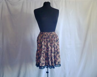 Vintage 90's Grunge Era Rayon Floral Skirt with Lace Hemline by Romeo Romeo® Size Large