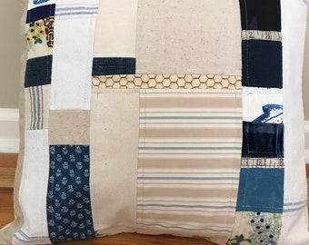 "18"" Grain Sack Patchwork Pillow Cover"