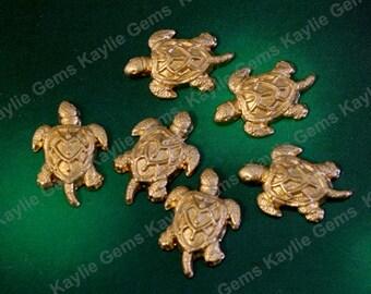 Raw Brass Stamping Baby Sea Turtle Decorative Ornate Ornament Metal Art USA - SF866 - 8pcs