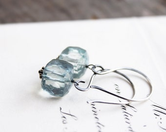 mystic teal green quartz gemstone earrings. natural cube dangles. oxidized sterling silver. gypsy bohemian jewelry. made to order (honeydew)