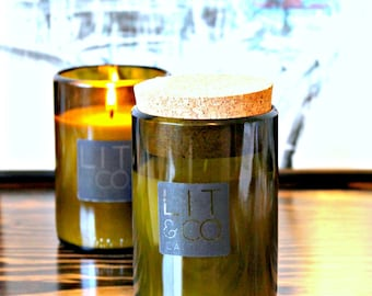 Lemongrass & Green Tea Natural Soy Candle 10oz Wine Jar - Optional Cork Top