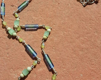 Blue & Green Sterling Silver Glass Tubes Necklace