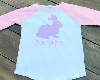 Easter Shirt/ Girlie Easter Shirt/ Bunny Easter Shirt/ Personalized Easter Shirt/ Pink Easter Shirt/ Raglan Style Shirt/ Easter Bunny Top