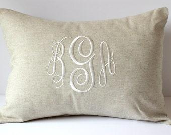 Custom Monogram Pillow Cover. Natural LINEN Decorative Throw Pillow. 2nd Anniversary Gift Cotton. Neutral Farmhouse Decor. Fixer Upper