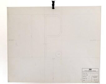 Letter P, original Linotype font casting, 7pt Reference Condensed. 1975. San serif cap P.