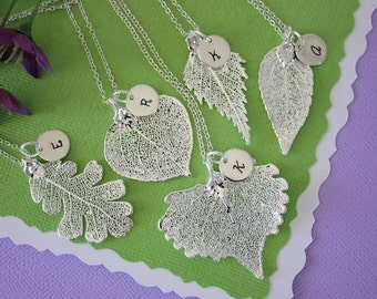 7 Silver Leaf Personalized Bridesmaids Necklaces, Bridesmaid Gifts, Real Leaf, Thank You Card, Initial Jewelry, Sterling Silver Charm