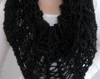 Black Color Lace Knitted Cowl Capelet Infinity Scarf Poncho Wedding Wrap Head Cover