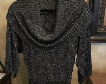 BeBe sweater in light weight knit black and silver