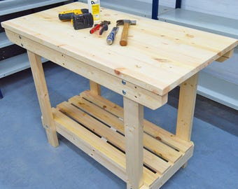 3.5FT Wooden Workbench  | Handmade | VERY STRONG & STURDY | Next Day Delivery | Top Quality!