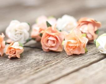 Paper Flower, Bobby Pins, Floral Hair Pins, Peach, Flower Hair Pins, Wedding, Floral Bobby Pins, Wedding Hair Pins, Small Rose Hair Pins