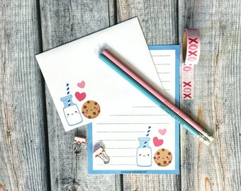 Stationery Set - kawaii milk & cookies - letter writing