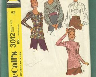 1971 McCalls 3012 Retro Chic Pirate or Victorian Blouses Size 12 UNCUT